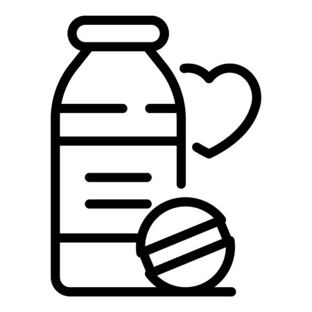 Heart pills icon, outline style