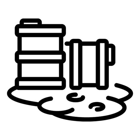 Nuclear barrel hazard icon, outline styleの素材 [FY310147893507]