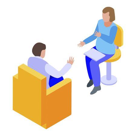Ilustración de Psychologist session icon, isometric style - Imagen libre de derechos