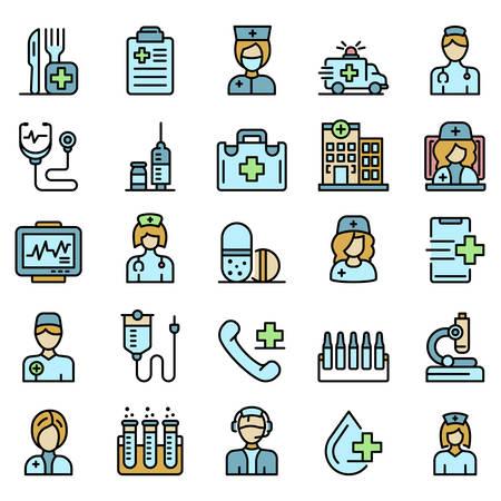 Illustration pour Nurse icons set vector flat - image libre de droit