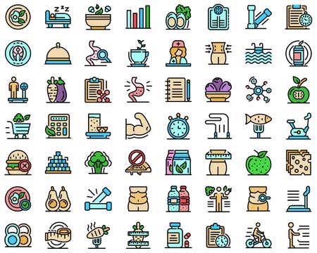 Illustration pour Nutritionist icons set vector flat - image libre de droit