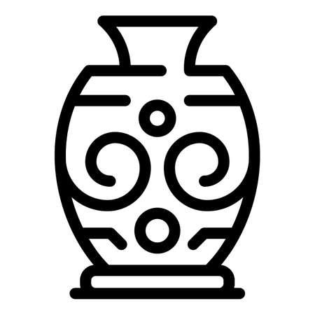 Illustration pour Pottery amphora icon, outline style - image libre de droit