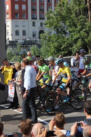GRENOBLE, FRANCE - JUNE 13  Chris Froome and Alberto Contador starting stage 6 of Le Criterium du Dauphine UCI World Tour on June 13, 2014 in Grenoble, Isere, France  Jan Bakelants won the race