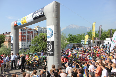 GRENOBLE, FRANCE - JUNE 13  Start  of Stage 6  of Le Criterium du Dauphine UCI World Tour on June 13, 2014 in Grenoble, Isere, France with Chris Froome and Alberto Contador  Jan Bakelants won the race