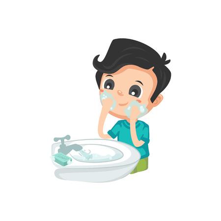 Illustration for Good Habits - Washing Face - Royalty Free Image