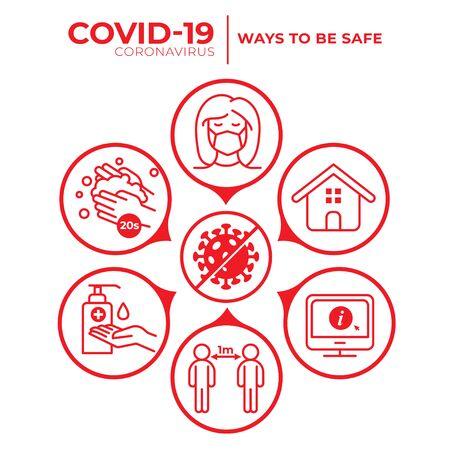 Illustration pour Covid-19 Coronavirus - How to be Safe - image libre de droit
