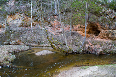 Photo pour Citi Ieriki, Latvia. Red cliffs and river Kumada. Trees and water. Travel photo 2019.14.04. - image libre de droit