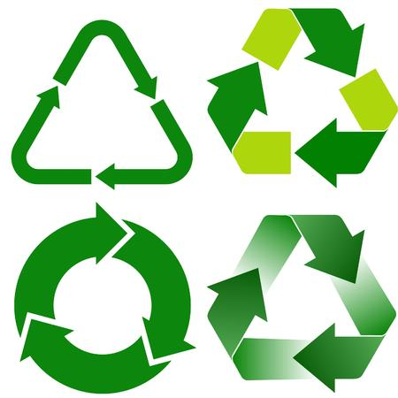 four various recycle icons
