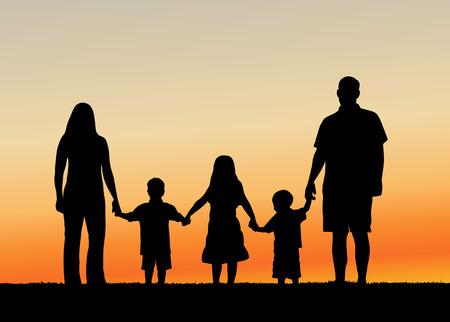 Illustration pour Family at Sunset vector illustration - image libre de droit