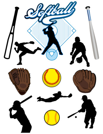 A collection of illustrated softball elements. Batts, balls, athletes, mitts or gloves