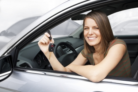 Happy Woman Renting or Buying a Car