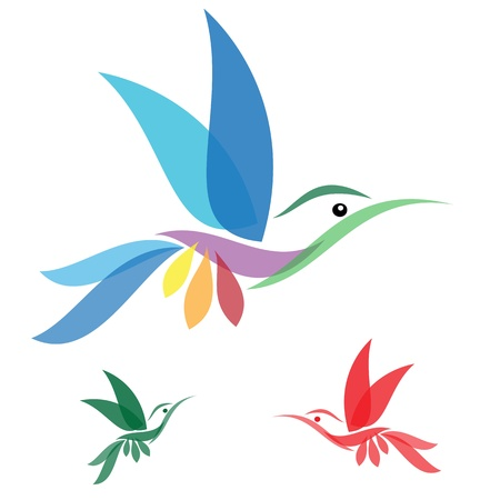 Isolated abstract humming bird in white backgroundのイラスト素材