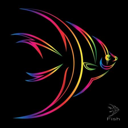 Vektor für image of an angel fish on black background  - Lizenzfreies Bild