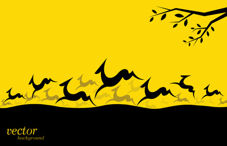 Silhouette of a herd of deer on yellow background.