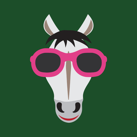 Illustration for Vector image of a horse wearing glasses. - Royalty Free Image