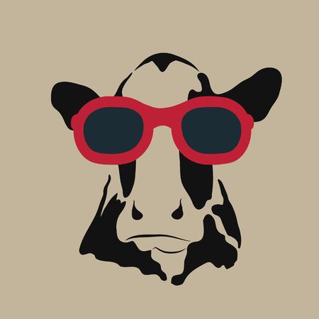 Ilustración de Vector image of a cow wearing glasses. - Imagen libre de derechos