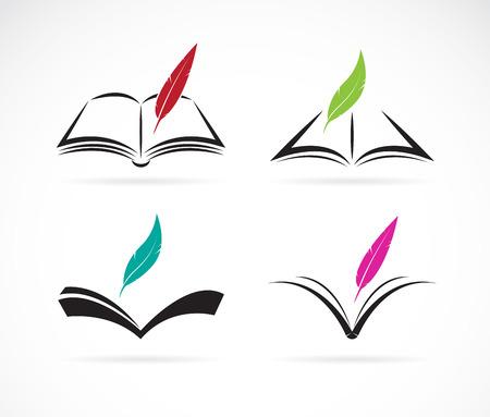Ilustración de Vector image of an book and feather on white background - Imagen libre de derechos