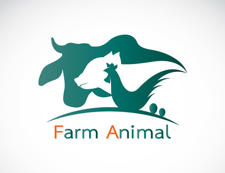 Illustration for Vector group of animal farm label - cow,pig,chicken,egg - Royalty Free Image