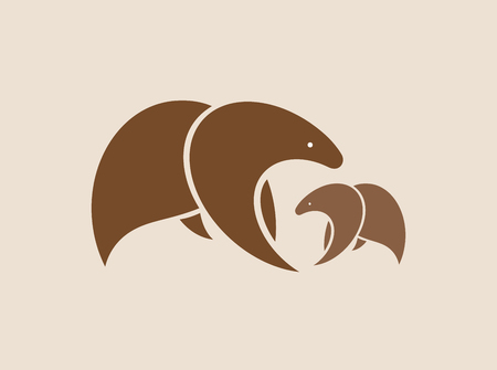 Vector images of two brown bears.のイラスト素材