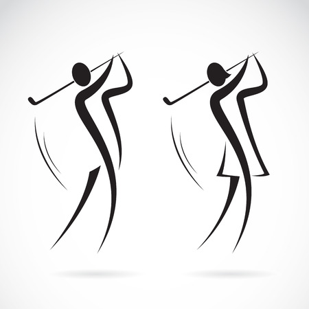 Illustration for Image of an male and female golfers design on white background - Royalty Free Image