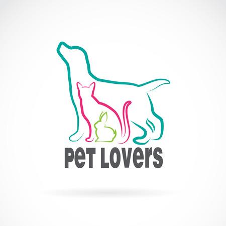Ilustración de Vector group of pets - Dog, cat, rabbit, isolated on white background. Animal design - Imagen libre de derechos