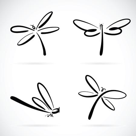 Ilustración de Vector group of dragonfly sketch on white background - Imagen libre de derechos