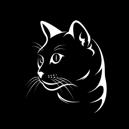Ilustración de Vector of a cat face design on black background, Vector illustration. Pet - Imagen libre de derechos