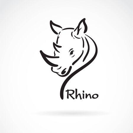 Ilustración de Vector of freehand rhino head painting on white - Imagen libre de derechos