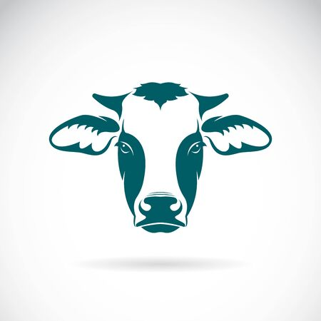 Illustration pour Vector of a cow head design on white background. Farm Animal. Cows logos or icons. Easy editable layered vector illustration. - image libre de droit