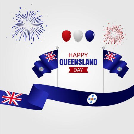 Illustration pour Happy Queensland Day Vector Illustration - image libre de droit