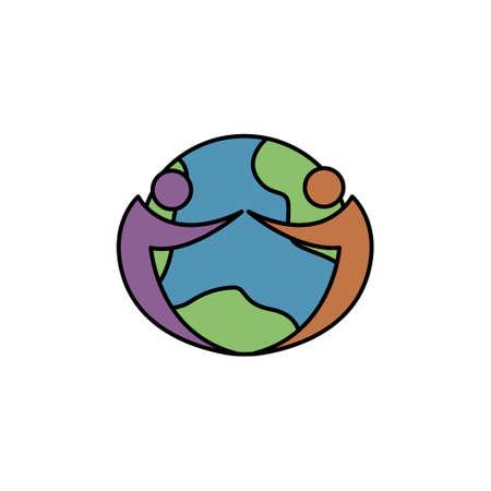 Illustration pour world friend vector icon logo design template illustration - image libre de droit