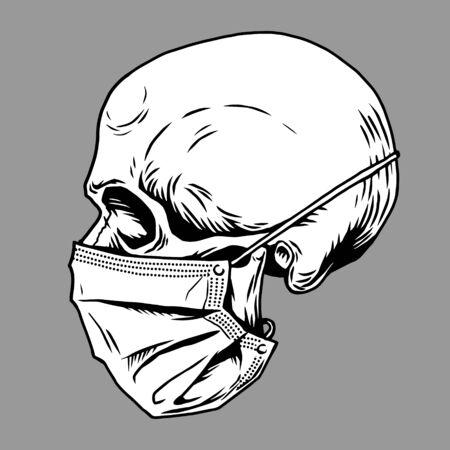Illustration for Skull face in medical face mask. Infectious disease, flu protection, avoiding virus. Corona virus quarantine 2019-nCoV. Concept for print poster shirt, desing tattoo, sigh. Vector illustration. - Royalty Free Image