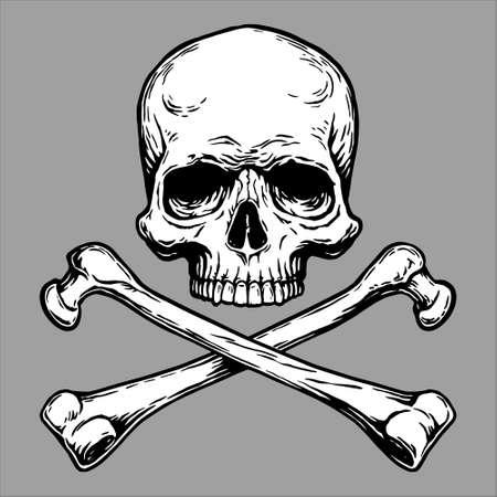 Illustration pour Jolly Roger Pirate skull head and crossed bones symbol. - image libre de droit