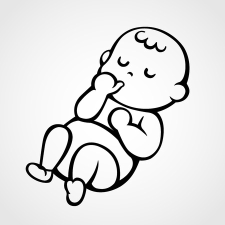 Illustration pour vector illustration of a sleeping baby sucking his / her thumb - image libre de droit