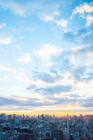 tokyo city morning grow view ,japan