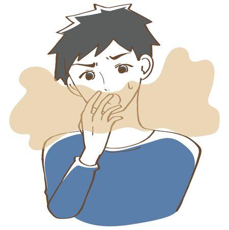 Illustration pour Bad breath men - image libre de droit