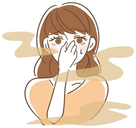 Illustration pour Bad breath woman - image libre de droit