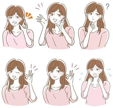 Ilustración de Various expression illustrations of women - Imagen libre de derechos