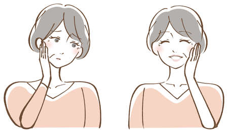 Illustration for Middle-aged woman set illustration that rejoices in trouble - Royalty Free Image