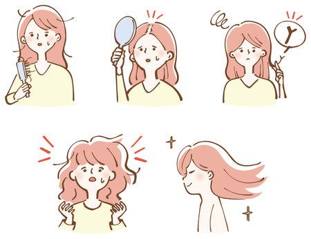Illustration pour Hair Care Damaged Hair Beautiful Hair Women Illustration Set - image libre de droit