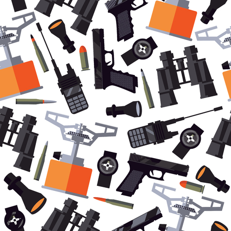 Seamless pattern with army soldier goods like portable radio, flashlight, compass, gun, bullets, binoculars and gas-burner on white background.