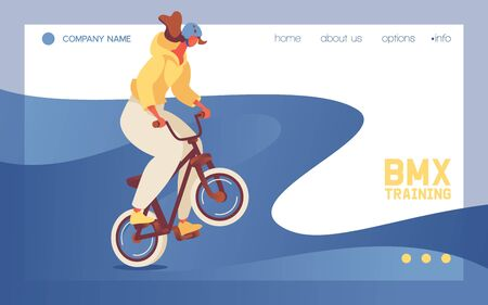 Landing page template or banner for web site with young girl in helmet riding bmx sport bike. Concept scene good for dirt and motocross games. Character doing jump trick