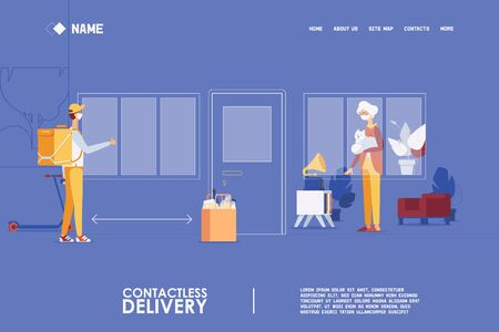 Illustration for Landing page for quarantine contactless food delivery for old people and pensioners. - Royalty Free Image