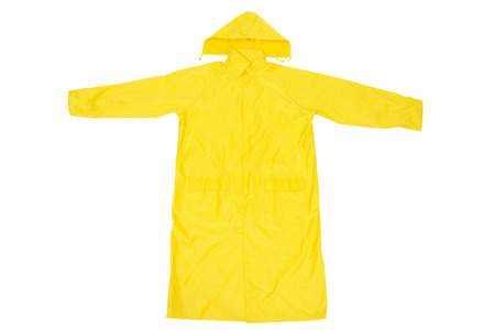 Yellow Waterproof Rain Coat, Isolated on White Background