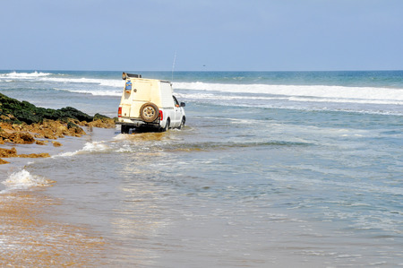 Adventurous, Off-Road Driving Around the Rocks on the Acre of Death Along the Coast of Angola, Southern Africa