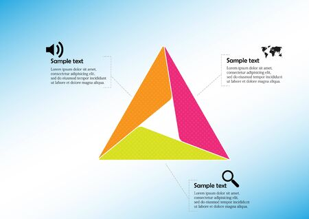 Illustration for Infographic vector template with shape of triangle. Graphic is divided to three color parts filled by patterns. Each section is joined with simple sign. Background is light blue. - Royalty Free Image