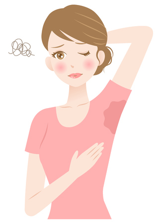 Illustration for Woman sweating under armpit. Hygiene and health Care concept - Royalty Free Image