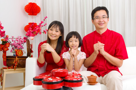Asian family celebrating chinese new year