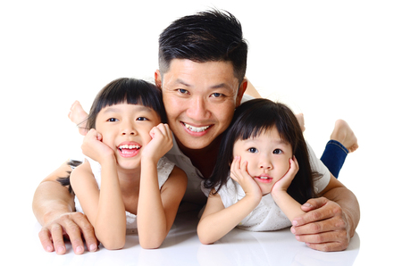 Photo for Asian father and his cute daughters  isolated on white background - Royalty Free Image