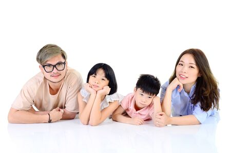Photo pour Indoor portrait of asian family at home - image libre de droit